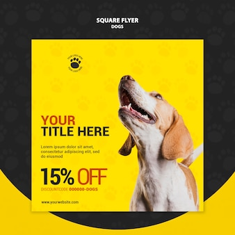 Hond kortingscode vierkante flyer stijl