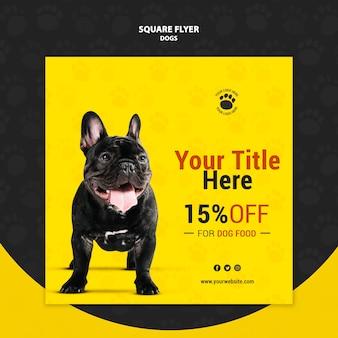 Hondenvoer korting vierkante flyer stijl