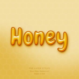 Honey 3d-tekststijleffect psd Premium Psd