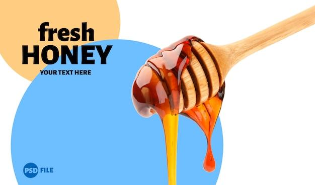 Honey stick vertiendo miel, cucharón con jarabe de azúcar que fluye