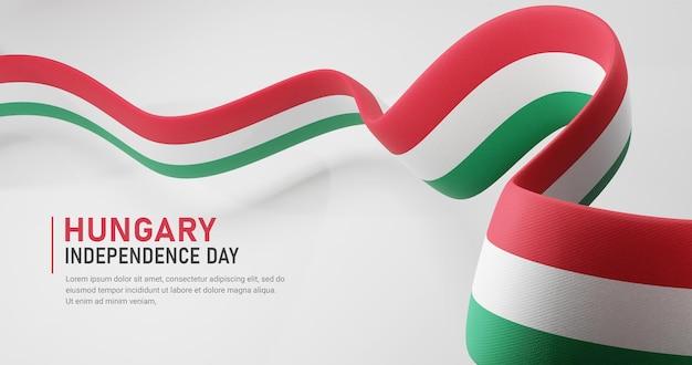 Hongarije onafhankelijkheidsdag zwaaien lint vlag banner sjabloon
