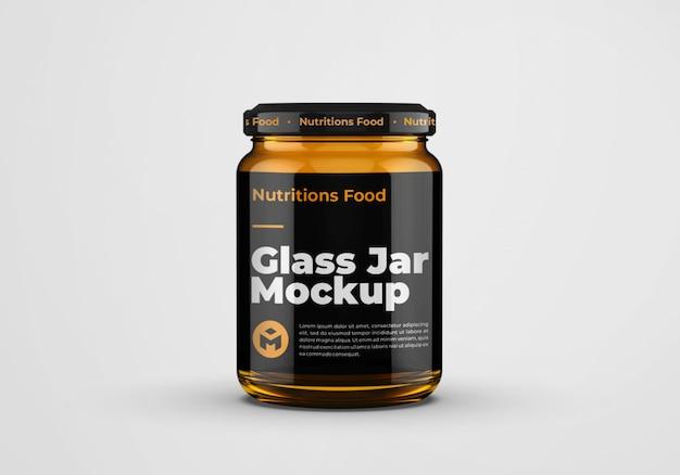 Honing amberkleurige glazen pot mockup ontwerp