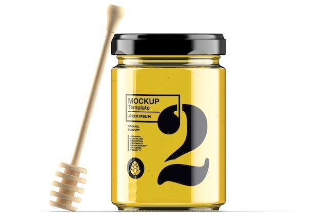 Honing glazen pot met lepel mockup geïsoleerd