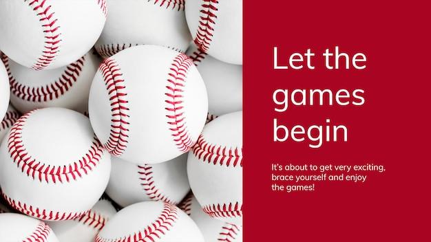 Honkbal sport sjabloon psd motiverende citaat presentatie