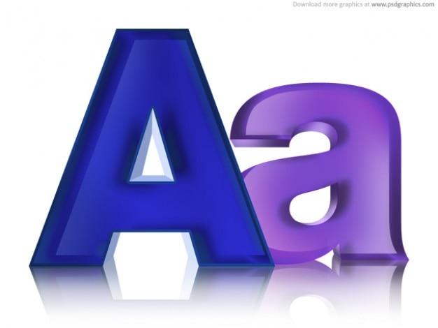 Hoofdletters en kleine letters, psd icoon