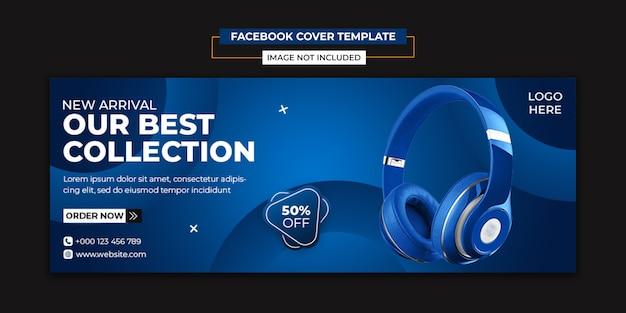 Hoofdtelefoon merkproduct sociale media en facebook voorbladsjabloon