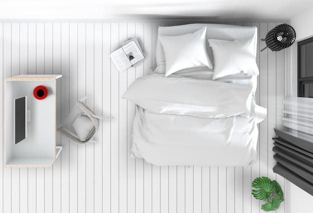 Hoogste mening van binnenlandse slaapkamer met bureaucomputer. 3d render