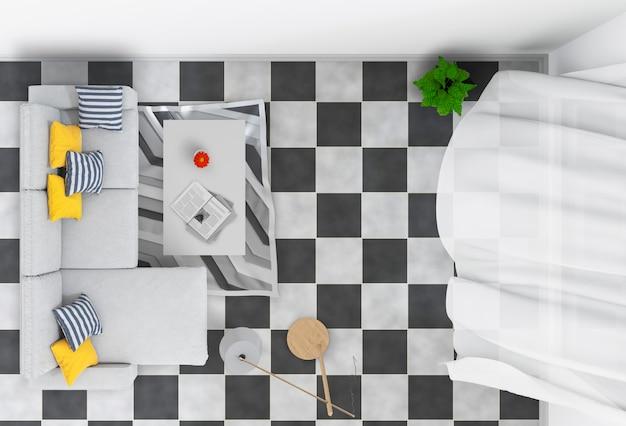 Hoogste mening van binnenlandse woonkamer. 3d render