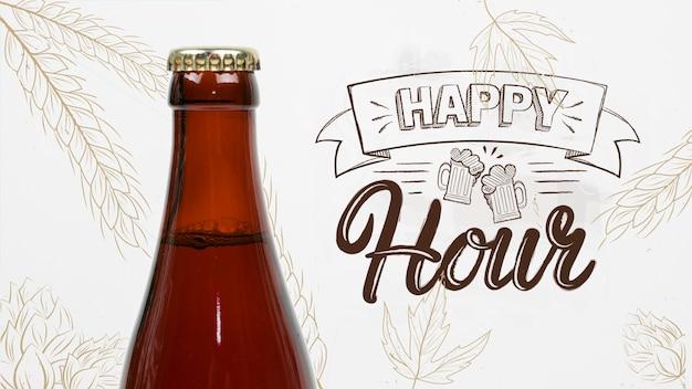 Hora feliz para maqueta de cerveza artesanal