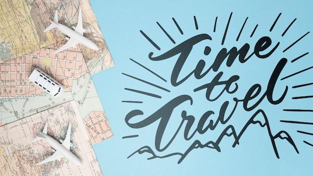 Hora de viajar, lettering o frase emotiva sobre viajar en vacaciones