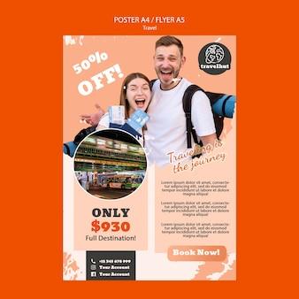 Hora de viajar con plantilla de póster de precios