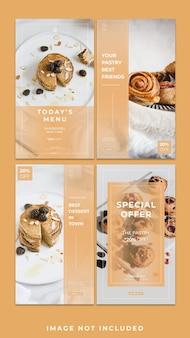 Horizontaal banner eten instagram-verhaalsjabloonpakket
