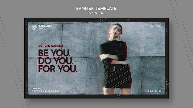 Horizontaal bannermalplaatje om het thema van jezelf te vangen