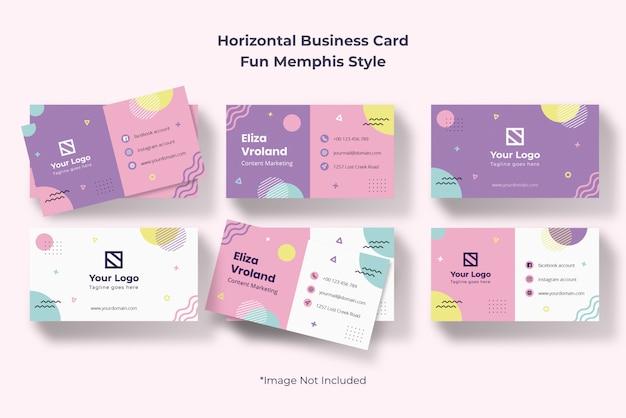 Horizontaal creatief agentschap visitekaartje eenvoudige memphis abstract