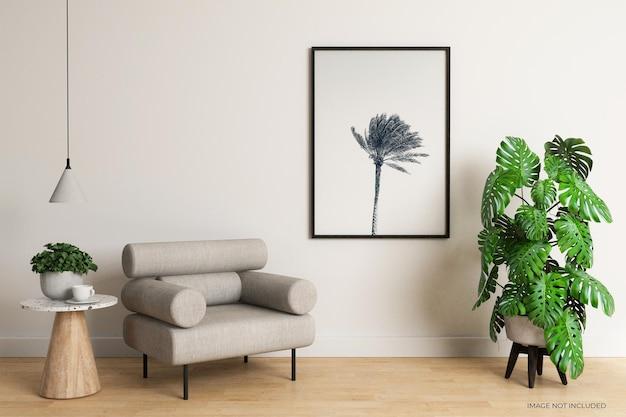 Horizontaal frame met monstera plant mockup-ontwerp in 3d