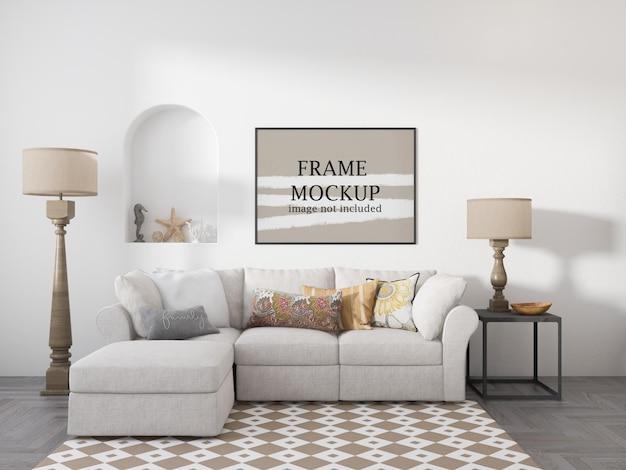 Horizontaal frame mockup op witte muur in landelijk interieur