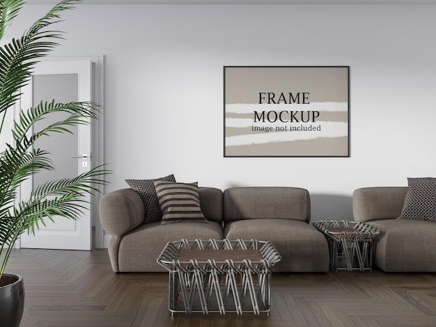 Horizontaal frame mockup op witte muur