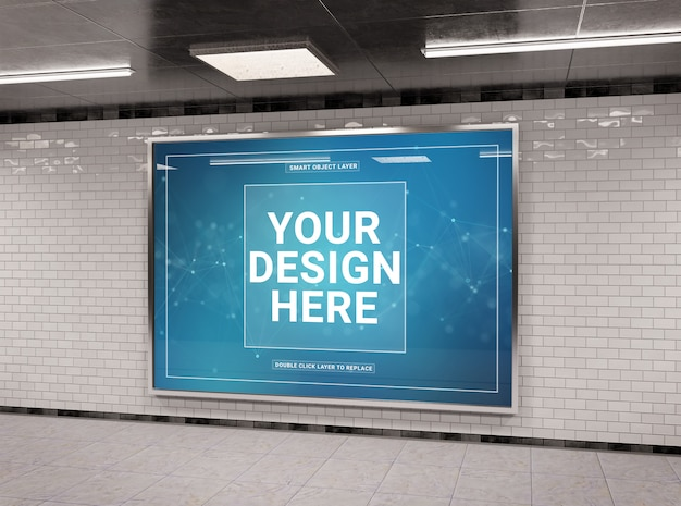 Horizontaal ondergronds aanplakbord in tunnelmodel