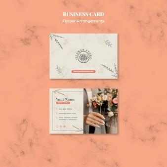 Horizontaal visitekaartje voor winkel met bloemenarrangementen