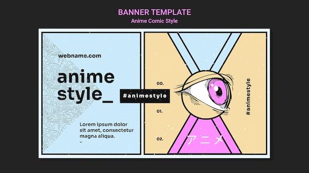 Horizontale banner in anime komische stijl