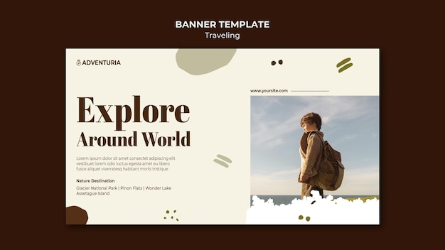 Horizontale banner met backpacker reizend kind