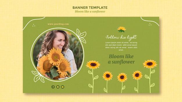 Horizontale banner met zonnebloemen en vrouw