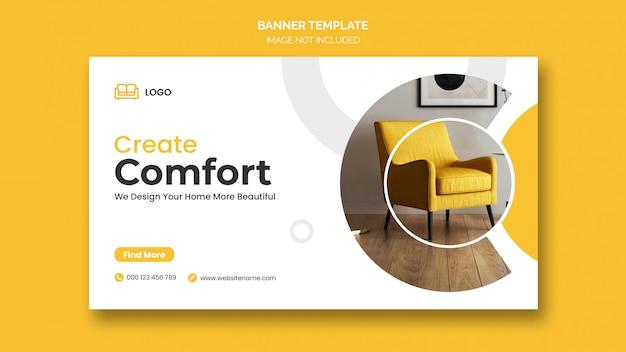 Horizontale banner of facebook omslag met minimale design- en meubelkorting