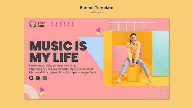 Horizontale banner om van muziek te genieten