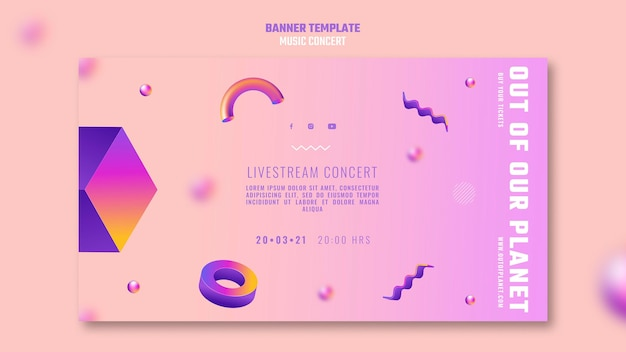 Horizontale banner van out of our planet music concert Gratis Psd