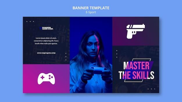 Horizontale banner van videogamespeler