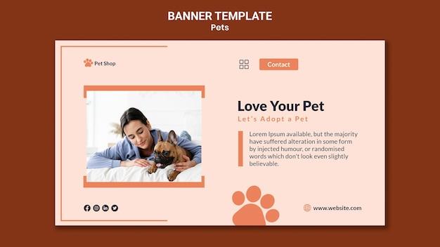 Horizontale banner voor adoptie van huisdieren