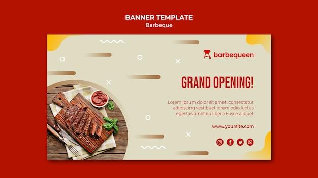 Horizontale banner voor barbecue restaurant Gratis Psd