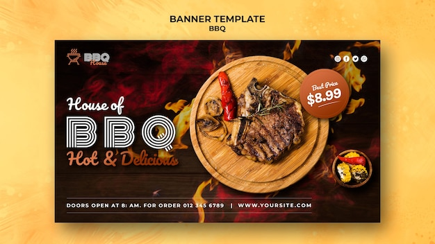 Horizontale banner voor barbecue Gratis Psd