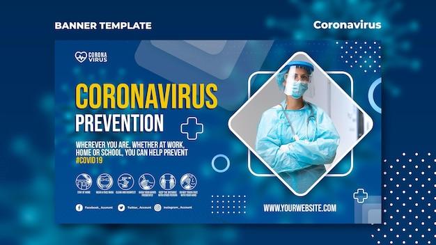 Horizontale banner voor bewustwording van het coronavirus
