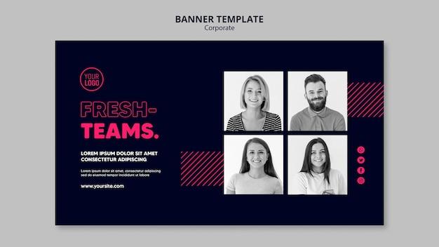 Horizontale banner voor commercieel team Premium Psd
