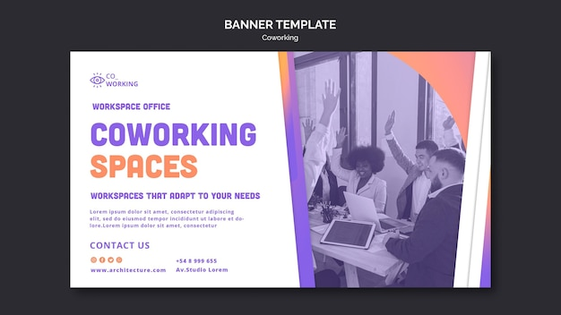 Horizontale banner voor coworking-ruimte