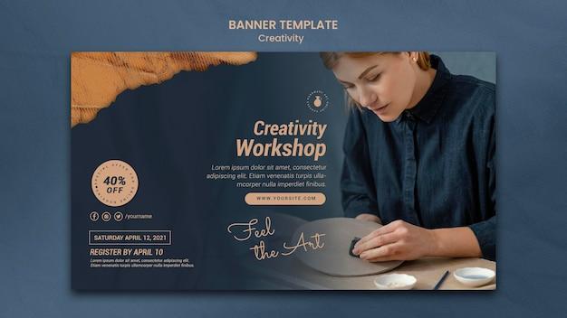 Horizontale banner voor creatieve aardewerkworkshop met vrouw