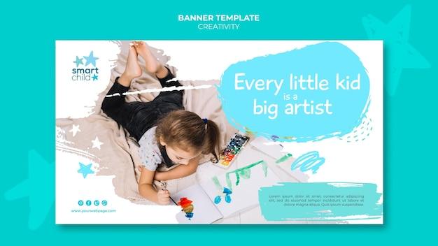 Horizontale banner voor creatieve kinderen die plezier hebben