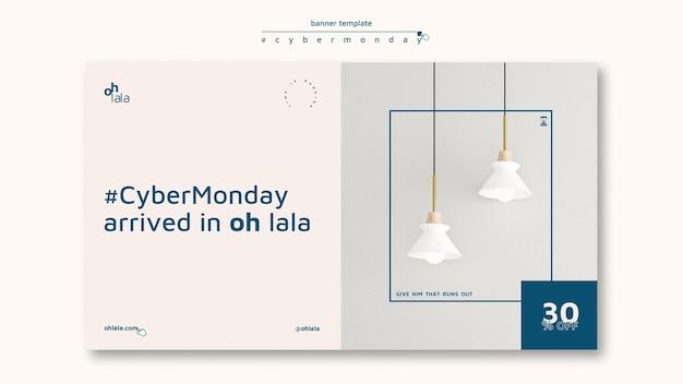 Horizontale banner voor cyber maandag winkelen