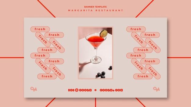 Horizontale banner voor de cocktaildrank van margarita