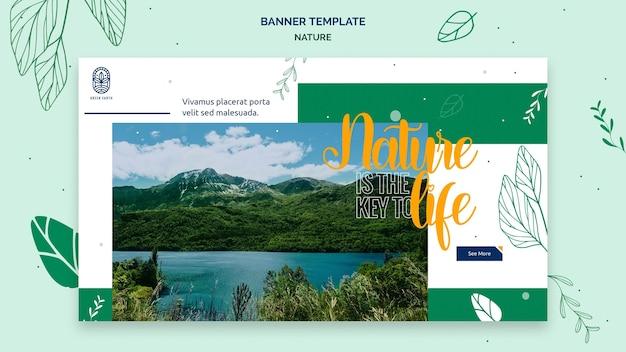 Horizontale banner voor de natuur met het landschap van het wilde leven Gratis Psd