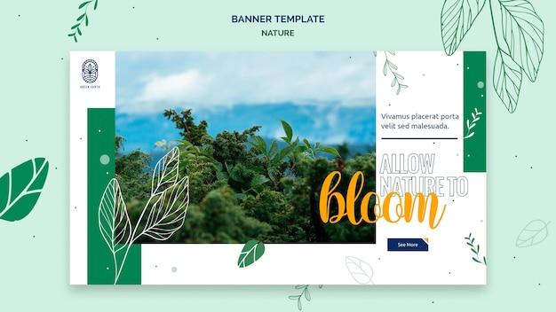 Horizontale banner voor de natuur met het landschap van het wilde leven