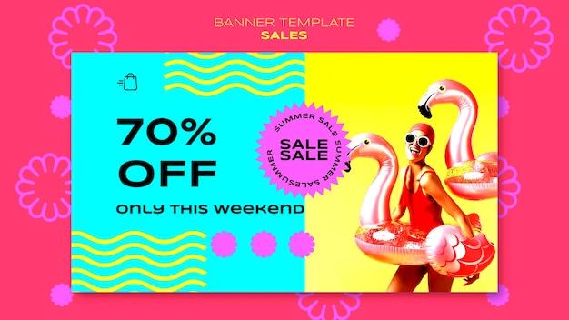 Horizontale banner voor de verkoop van het zomerseizoen