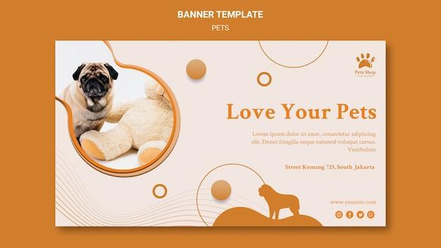 Horizontale banner voor dierenwinkel met hond