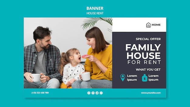 Horizontale banner voor het huren van een gezinswoning