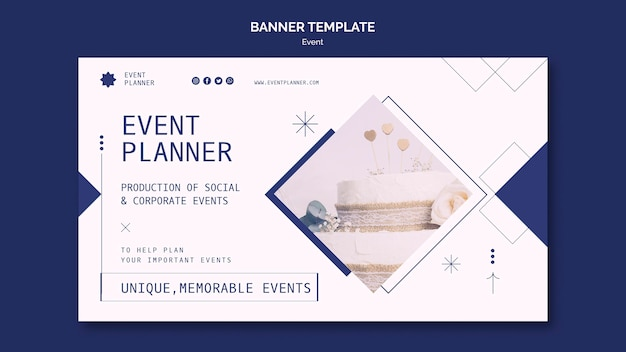 Horizontale banner voor het plannen van sociale en zakelijke evenementen