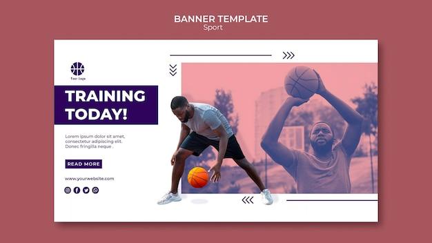 Horizontale banner voor het spelen van basketbal