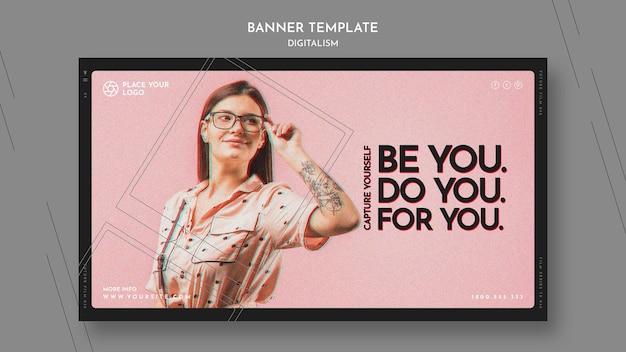 Horizontale banner voor het thema van jezelf vastleggen