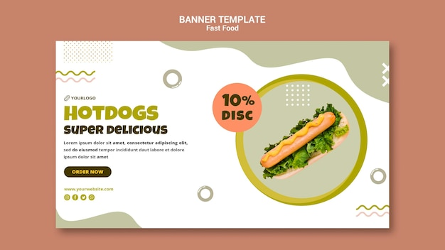 Horizontale banner voor hotdogrestaurant