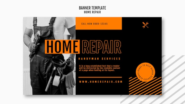 Horizontale banner voor huisreparatiebedrijf